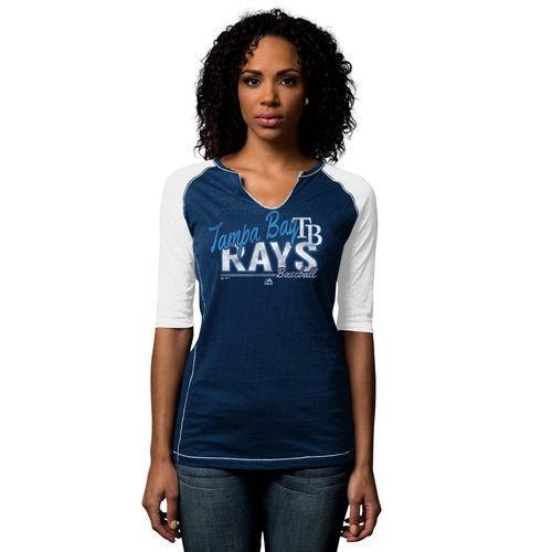 野球 メジャーリーグ MLB Tampa Bay Rays レディース Majestic ネイビー ブルー Playful Pitch Raglan Tシャツ