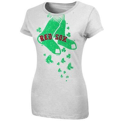 野球 メジャーリーグ MLB Majestic Boston 赤 Sox レディース ホワイト For The ラブ Of Shamrocks Tシャツ