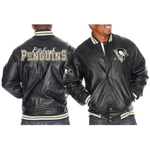 スポーツ ファン ウェア レプリカ ユニフォーム 応援 ホッケー NHL Pittsburgh Penguins 黒 Knuckleball Faux Leather Varsity Jacket