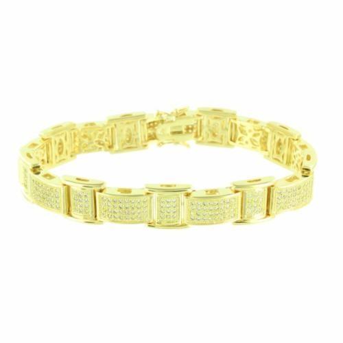 偉大な ジュエリー 腕時計ブレスレット マスターオブブリング 14k ゴールド Finish ブレスレット Iced Out イエロー Simulated ダイヤモンドs メンズ Unique スタイル, オーバーラグ 3a805cf4