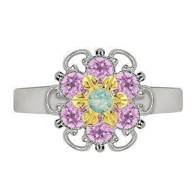 最新な ジュエリー ファッション リング Lucia Costin Yellow Goldplated Sterling Silver Mint Blue/ Lilac Crystal Flower R, INFINITY Co.,Ltd. 9ff69fe4