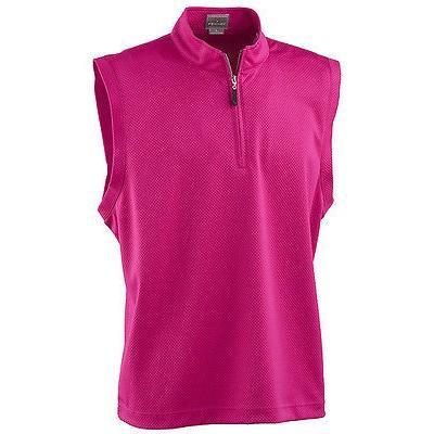 距離計 スコープ フェネックゴルフ Fennec Waffle 1/4 ジップ Vest Magenta ラージ メンズ ゴルフ outerwear
