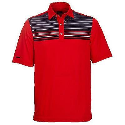 トミカチョウ 距離計 スコープ グレグ ノーマン Greg Norman エンジニアード モダン ストライプ Polo Flame レッド ラージ メンズ ゴルフ shirt, メイワマチ 43eb1be2