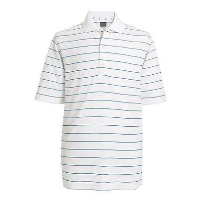 距離計 スコープ グレグ ノーマン Greg Norman Protek Micro Pique ストライプ Polo ホワイト XX-ラージ メンズ ゴルフ shirt