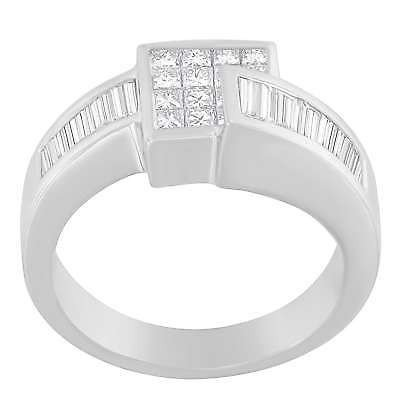 限定価格セール! アンブランデッド Baguette-cut 婚約指輪 14K White Gold 1 1/3 White CTTW (G-H, Princess and Baguette-cut Diamond Ring (G-H, SI2-I1), 春江町:d93048d2 --- photoboon-com.access.secure-ssl-servers.biz