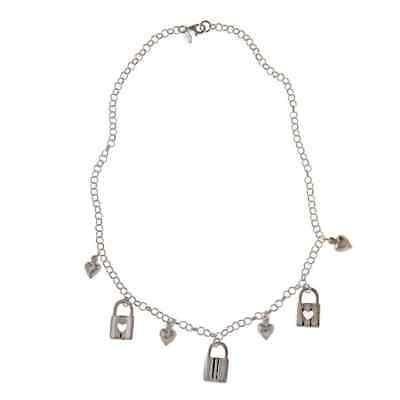 宅配 ラプレシオサ ストーンのないアクセサリー La Preciosa Sterling Silver Heart Lock and Puffed Heart Charm Necklace, ヒラタチョウ 523ae3c3