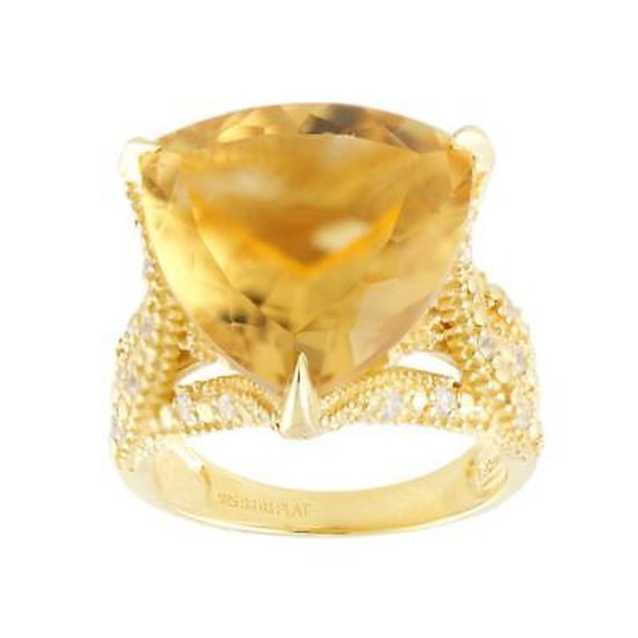 超歓迎された ジェムストーン アンブランディッド 18k 18k Vermeil Yellow Gold Vermeil Over Silver Citrine Ring and White Zircon Ring, アフリカ雑貨店【アフロモード】:54fad64d --- airmodconsu.dominiotemporario.com