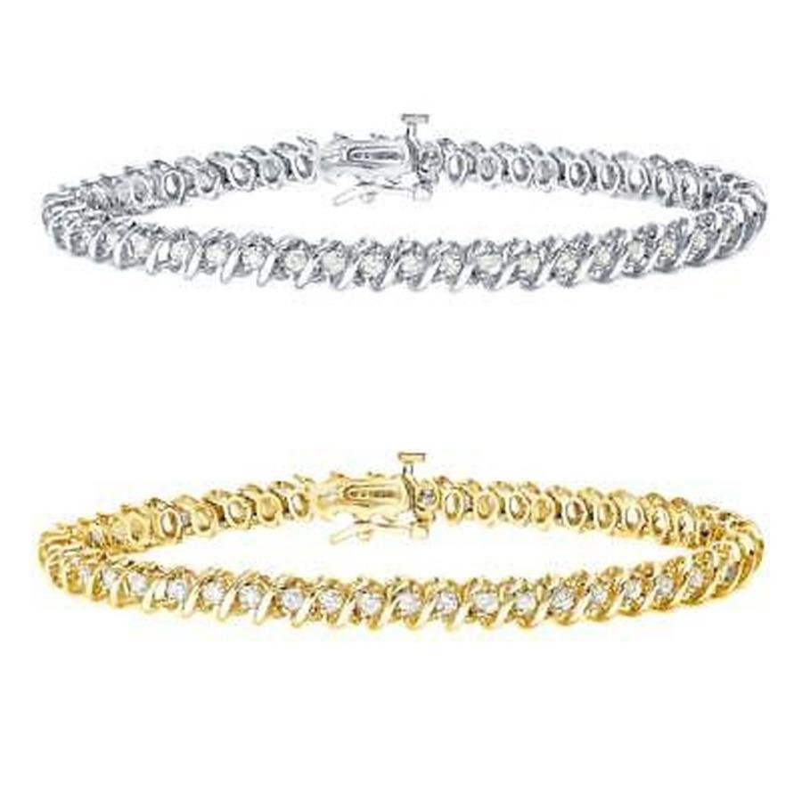 超格安一点 ダイヤモンド S-Link 海外セレクション Auriya 14k Gold Tennis Gold 1 to 10ct TDW S-Link Diamond Tennis Bracelet, 辛子めんたいこ ひろしょう:dc98efdb --- airmodconsu.dominiotemporario.com