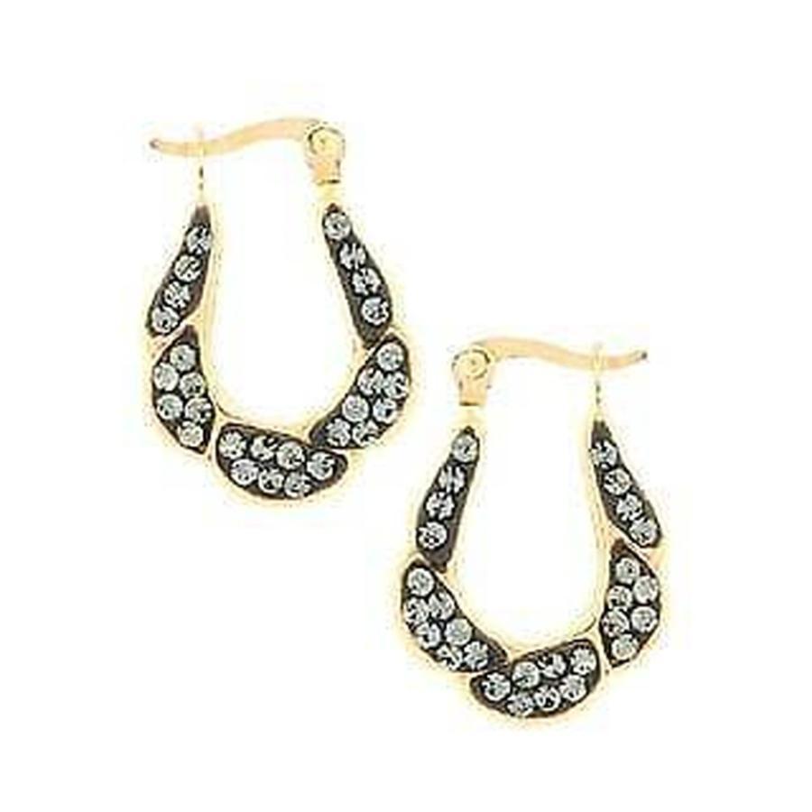 品質のいい ポリ ポリ 14K Yellow Gold Crystal Twisted Crystal Oval Twisted Hoop Earring, 岩内金物店:8be1680b --- airmodconsu.dominiotemporario.com