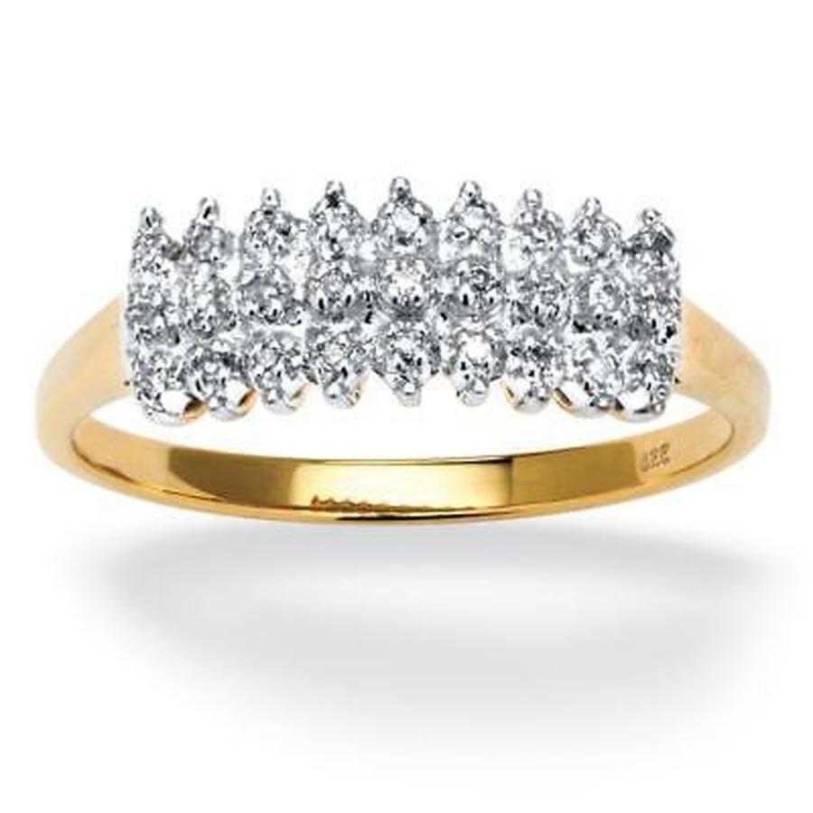【楽天ランキング1位】 パームビーチジュエリー 1/7 TCW Round Diamond Round Peak TCW Ring in over 18k Yellow Gold over Sterling Silver, 自然食品店ナチュララ:450e3082 --- airmodconsu.dominiotemporario.com