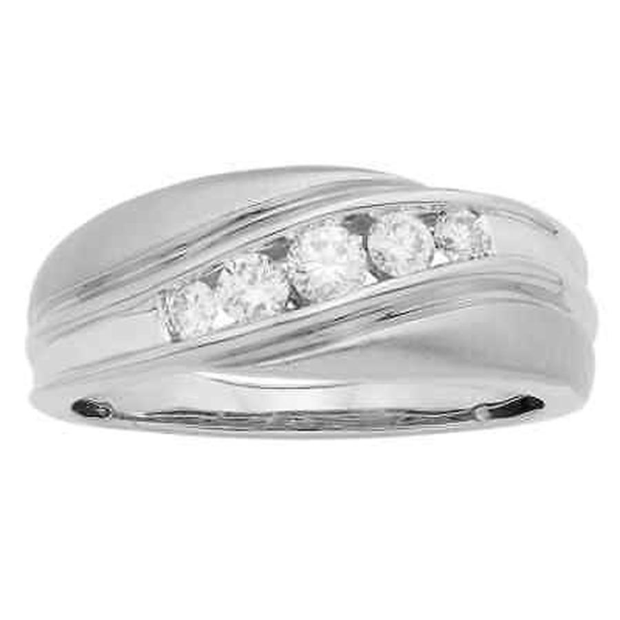 驚きの値段で ソフィア 婚約指輪 Sofia 14K White Gold 1/2ct TDW 4-stone Swirl Round Cut Men's Ring, 野球用品ベースボールタウン f3d58358