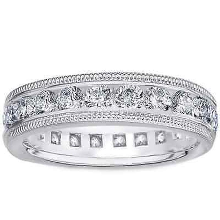高質 海外バイヤー厳選ブランド ダイヤモンド Amore Platinum Wedding 2ct TDW Milligrain Platinum Edge Diamond ダイヤモンド Wedding Band, ミニモト:a510500d --- airmodconsu.dominiotemporario.com