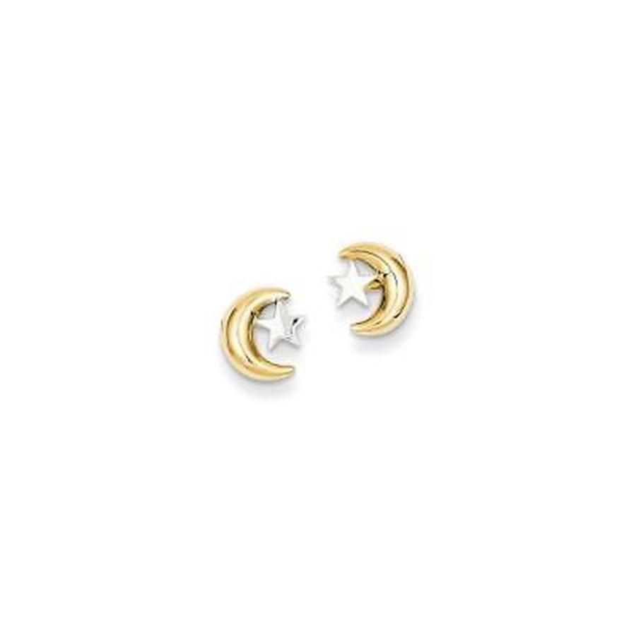 お気に入りの Versil 海外セレクトブランド 14 Karat Polished Rho Moon Star Post Ear, ブルームーン 490a45d3