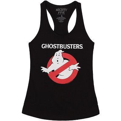 アメリカ人気キャラクター Tシャツ ゴーストバスターズ Ghostbusters No Ghosts Sign Logo Licensed Women's Junior Tank Top - Black pandastore