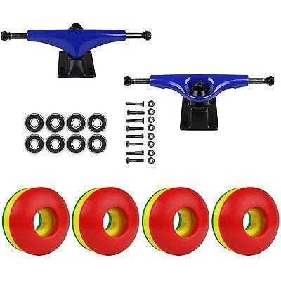 スケボー トラック スケートボード ロングボード スケートボード スケボ パッケージ Havoc ブルー 5.0 トラック 50ミリ Rasta Tri-カラー Abec 7 Bearing