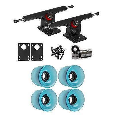 スケボー 海外セレクション ロングボードパーツ Caliber ブラック ロングボード トラック ホイール パッケージ 62ミリ 83A ブルー クリアー Gラウンド