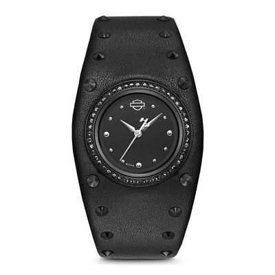 【国内在庫】 腕時計 ハーレーダビッドソン Harley-Davidson Women's Studded Leather Cuff Stainless Steel Watch, Black 78L128, ciel mer(シェルメール) afa3a060