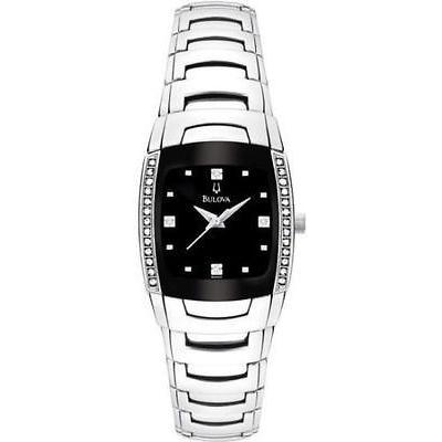 祝開店!大放出セール開催中 ブローバ New レディース New ブローバ Bulova 96R40 ステンレス スチール 腕時計 ダイヤモンド アクセント ブラック ダイヤル 腕時計, フルーツ 大和の匠:de871f52 --- airmodconsu.dominiotemporario.com