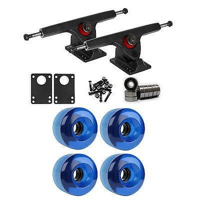 スケボー 海外セレクション ロングボードパーツ Caliber ブラック ロングボード トラック ホイール パッケージ 70ミリ x 46ミリ 83A 293C ブルー クリアー