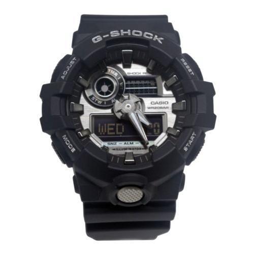【本物新品保証】 腕時計 カシオ Casio GA710-1A G-Shock Silver Analog Digital Dial Black Resin Band Watch New, 和 アンティーク 古録展 WORLD 3e2dd969