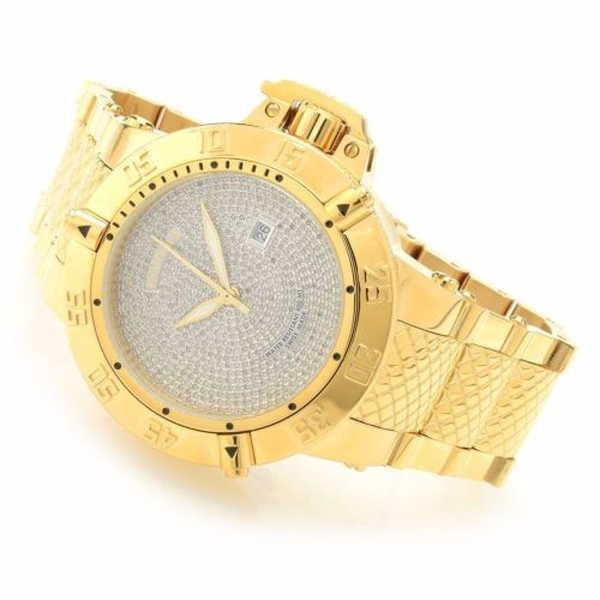 【美品】 腕時計 インヴィクタ Invicta メンズ サブアクア Swiss Made 2.72ctw ダイヤモンド ゴールド P SS ハイ POLISH 腕時計 RARE, KURA-PURA ed6981eb