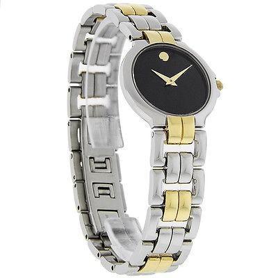 激安直営店 腕時計 モバード Movado Lancy レディース ブラック Museum ダイヤル Two トーン ドレス 腕時計 0604106, 愛される明月堂の博多通りもん eb03b9ef