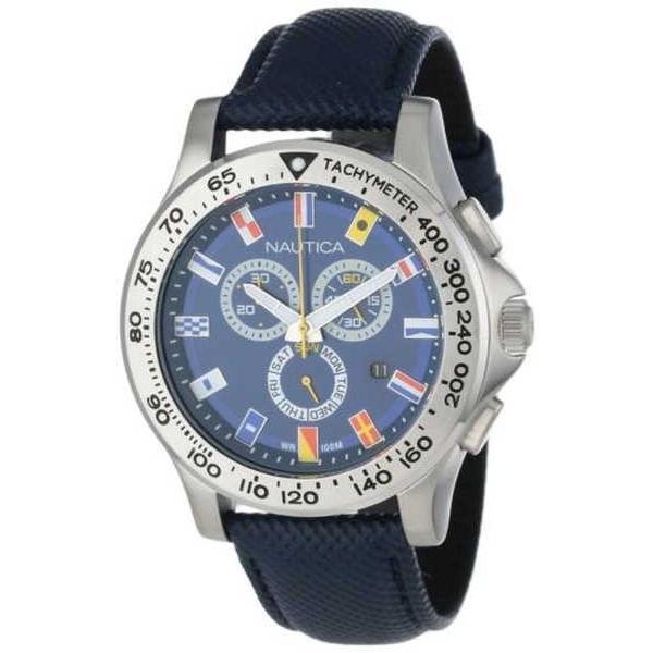 新着商品 腕時計 ノーティカ Nautica メンズ NST 600 クロノグラフ ブルー Flag ダイヤル ステンレス スチール レザー 腕時計, パールアンドパステル 3b877e96