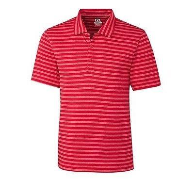 距離計 スコープ カッター バック Cutter Buck Tilton Melange ストライプ Polo レッド XX-ラージ -メンズ ゴルフ shirt