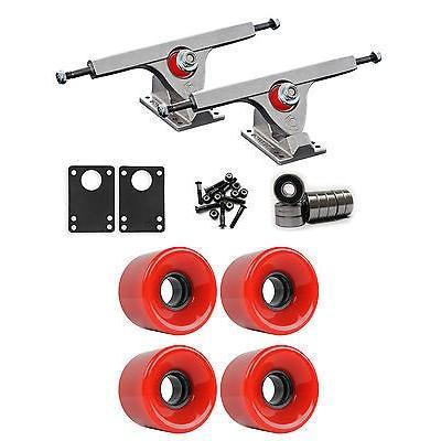スケボー 海外セレクション ロングボードパーツ Caliber Raw ロングボード トラック ホイール パッケージ 59ミリ x 43ミリ 83A 186C レッド