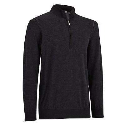 シャツ トップス セーター アシュワース Ashworth Pima コットン 1/2 ジップ ブラック X-ラージ