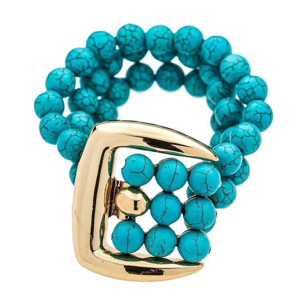 【おまけ付】 ブレスレット 3 ケネスジェイレーン Kenneth Jay Lane 3 bracelet Jay row tuquoise beads w/ polished gold buckle slasp bracelet, DZICARAT パワーストーン 天珠:98002afa --- airmodconsu.dominiotemporario.com