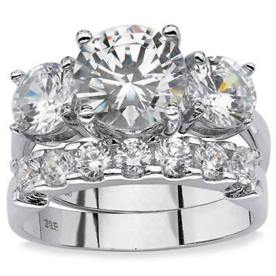 日本最大の CZ in モアッサナイト 模擬 パームビーチジュエリー TCW 2 Piece 5.50 TCW Round Platinum Cubic Zirconia Bridal Ring Set in Platinum over Sterling, DELUXDA RAISON:c21d6bde --- airmodconsu.dominiotemporario.com