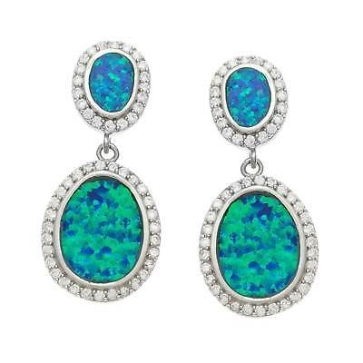 【ギフ_包装】 ラプレシオサ La ジェムストーン La Preciosa CZ ラプレシオサ Sterling Silver CZ and Blue Opal Oval Earrings, 平谷村:763f1b7f --- airmodconsu.dominiotemporario.com