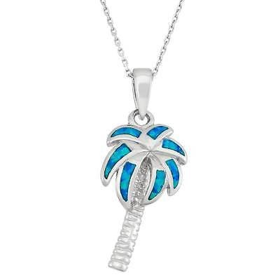 【予約受付中】 ラプレシオサ ジェムストーン La Preciosa Sterling Silver Created Blue Opal Palm Tree Pendant, 安岐町 b3e17adf