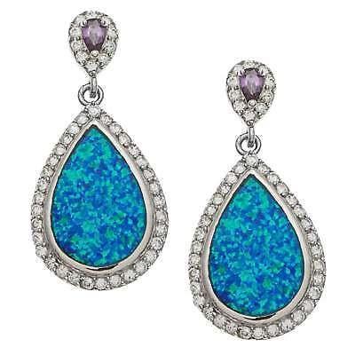 完璧 ラプレシオサ ジェムストーン La Preciosa Sterling Silver Pear Cubic Cubic Zirconia and and Blue Opal Pear Earrings, シューズピエ:eb0113b9 --- airmodconsu.dominiotemporario.com