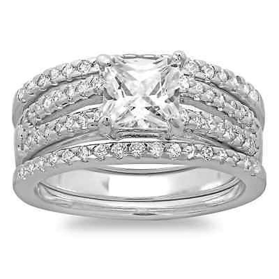 ウイスキー専門店 蔵人クロード CZ モアッサナイト 模擬 スターリングエッセンシャル Sterling Essentials Princess 模擬 Silver Princess CZ Essentials 3-piece Bridal-style Ring Set, 干物屋 一夜BOSHI:96153814 --- airmodconsu.dominiotemporario.com