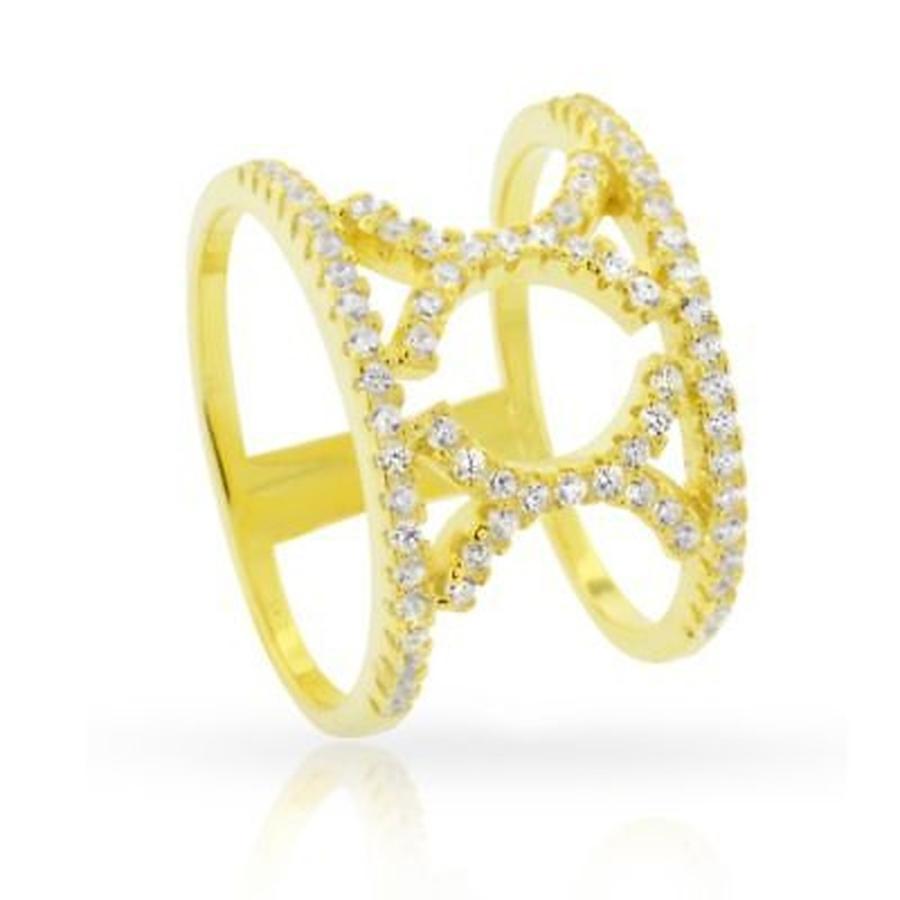 当社の リング アンブランデッド Yellow Gold over Silver Fancy Cubic Zirconia Micro Pave Double X Fashion Ring, ヒガシチチブムラ 1cecac0b