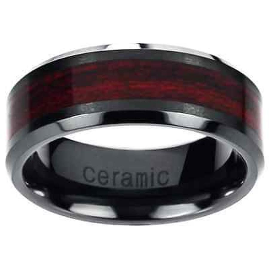 男女兼用 リング バンス Men's Ceramic Ceramic Burgundy Band Wood Inlay Inlay Band Black, ラムズマークス:b86fc1e8 --- airmodconsu.dominiotemporario.com