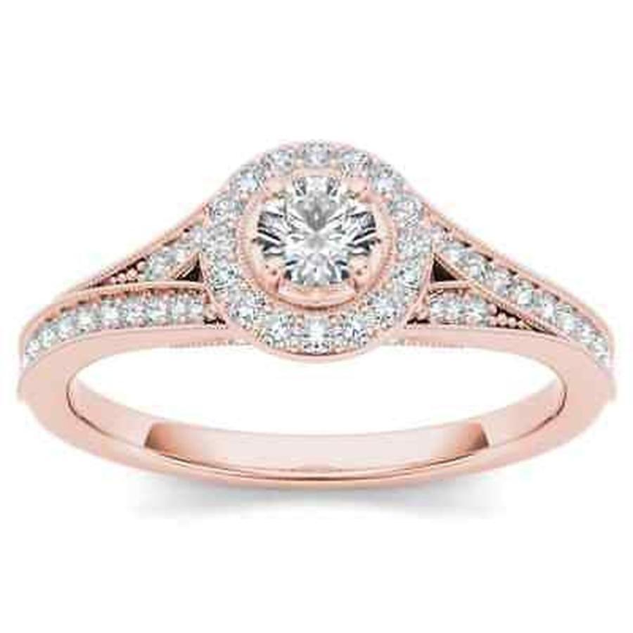 【超目玉枠】 婚約指輪 ドクール De Couer 14k Rose Gold 5/8ct TDW Diamond Halo Engagement Ring - Pink, 合成皮革生地通販 銀河工房 d444d0be