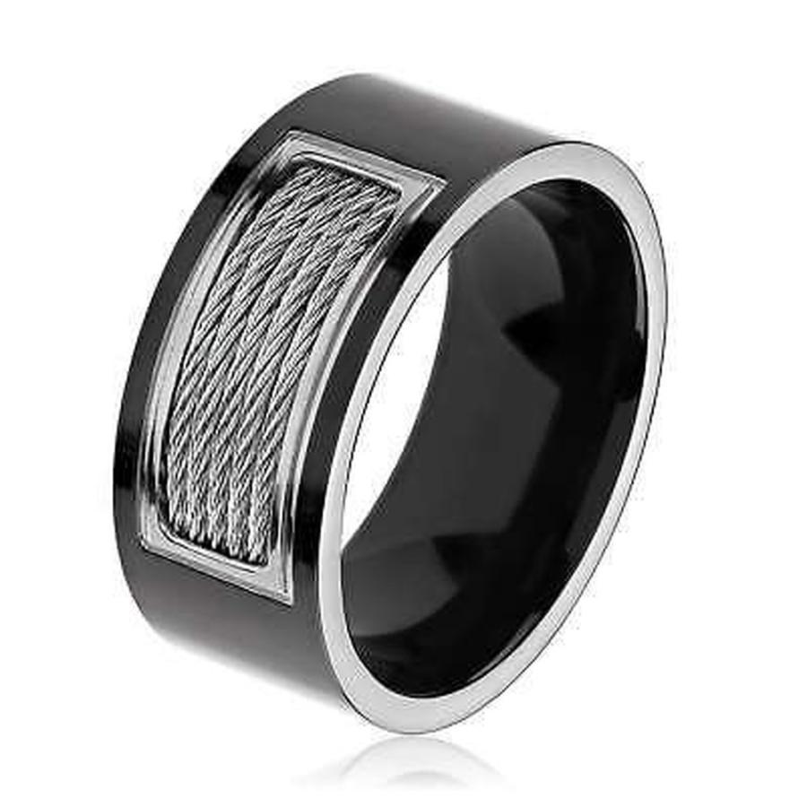 【初回限定お試し価格】 ウエストコーストジュエリー リング Men's リング Black Plated Wide Polished Titanium Cable Black Inlay Comfort Fit Ring - 10mm Wide, Huit Colline(ユイットコリーヌ):68f490e0 --- airmodconsu.dominiotemporario.com