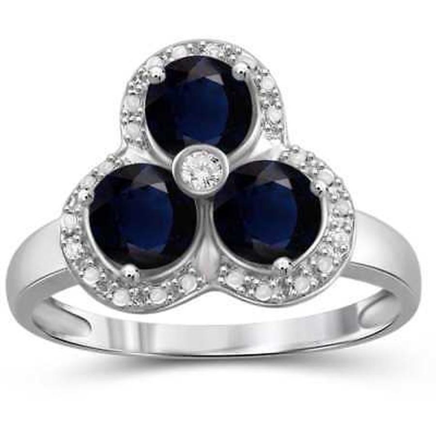 ウイスキー専門店 蔵人クロード ジュエルオンファイヤー ジェムストーン Jewelonfire Sterling Silver Sapphire Gemstone and White Diamond Accent 3-Stone, Tokyoキッチンウェア fb6bd7eb