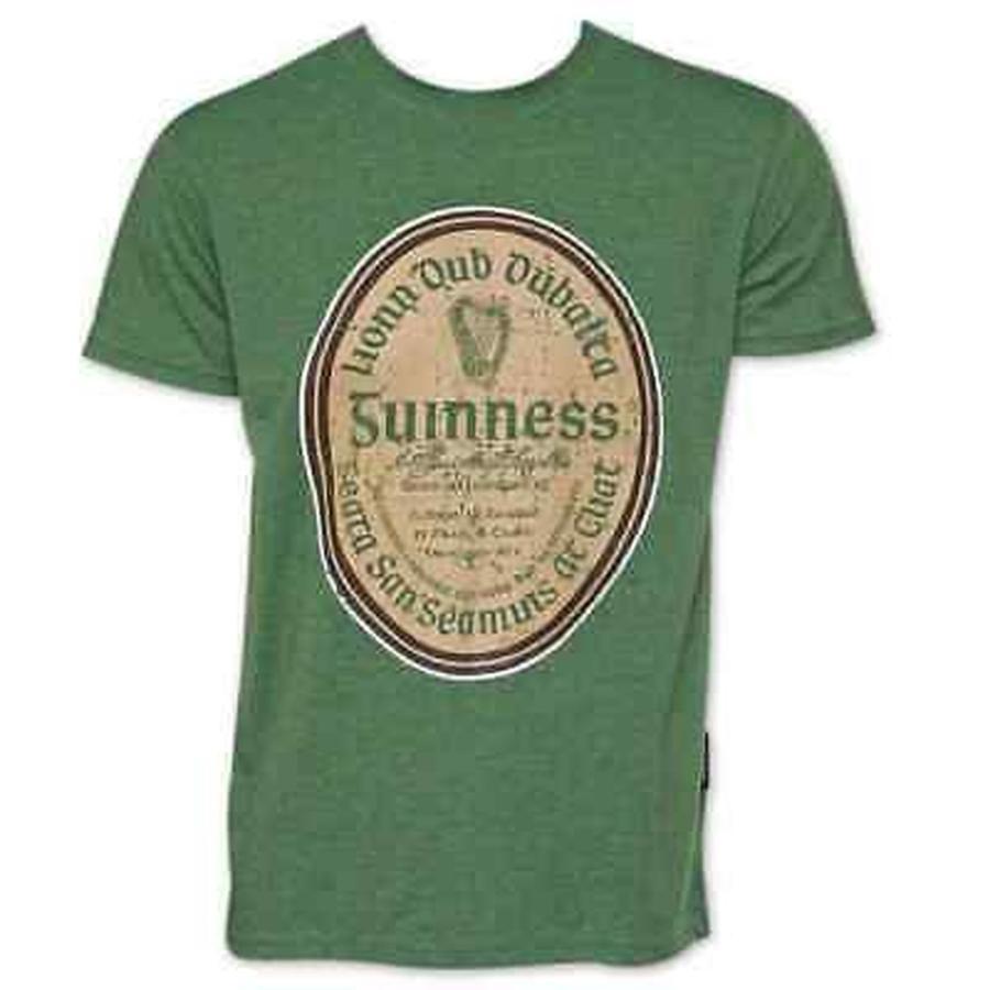 海外直輸入ブランドアクセサリー Guinness グリーン コットン Gaelic ラベル T-シャツ