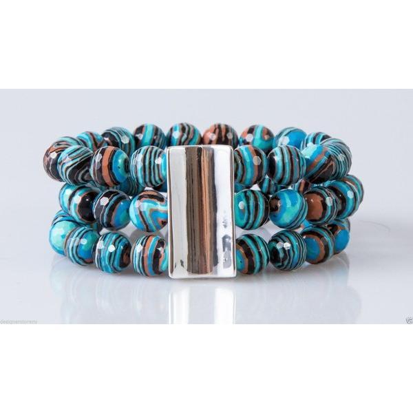 驚きの値段 ブレスレット キングベイビースタジオ Simon Sebbag Multi Blue Calsilica Stretch Bracelet Sterling Silver B112/MBC, 椿乃/長崎五島の椿オイル 881c295e