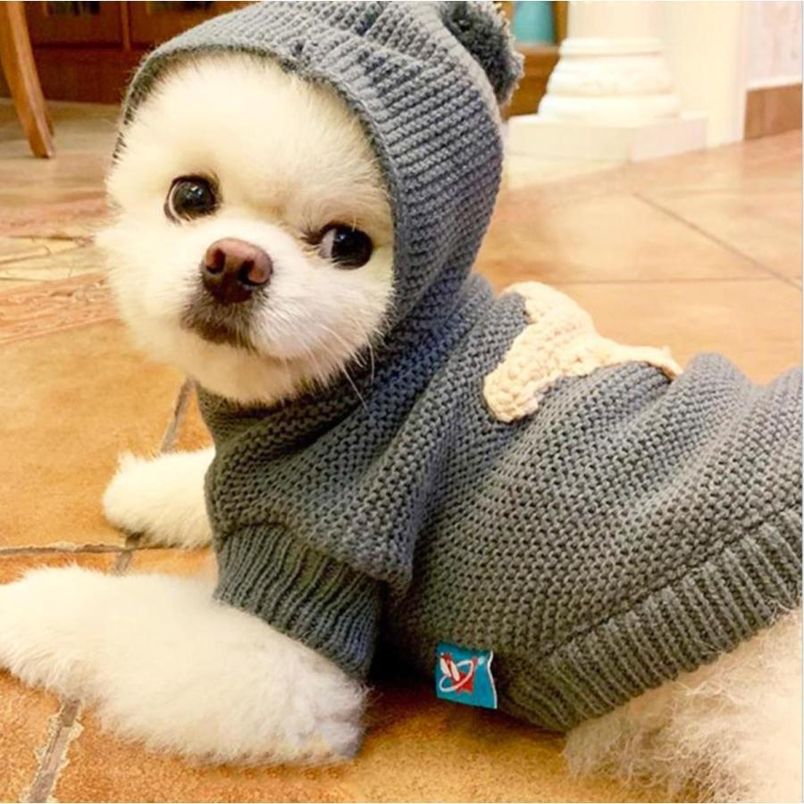 犬の服 犬服 セーター パーカー 編み 犬のニット かわいい ドッグウェア ドッグクローズ トイプードル チワワ ポメラニアン 小型犬 送料無料 メール便対応|panni-fashion|11