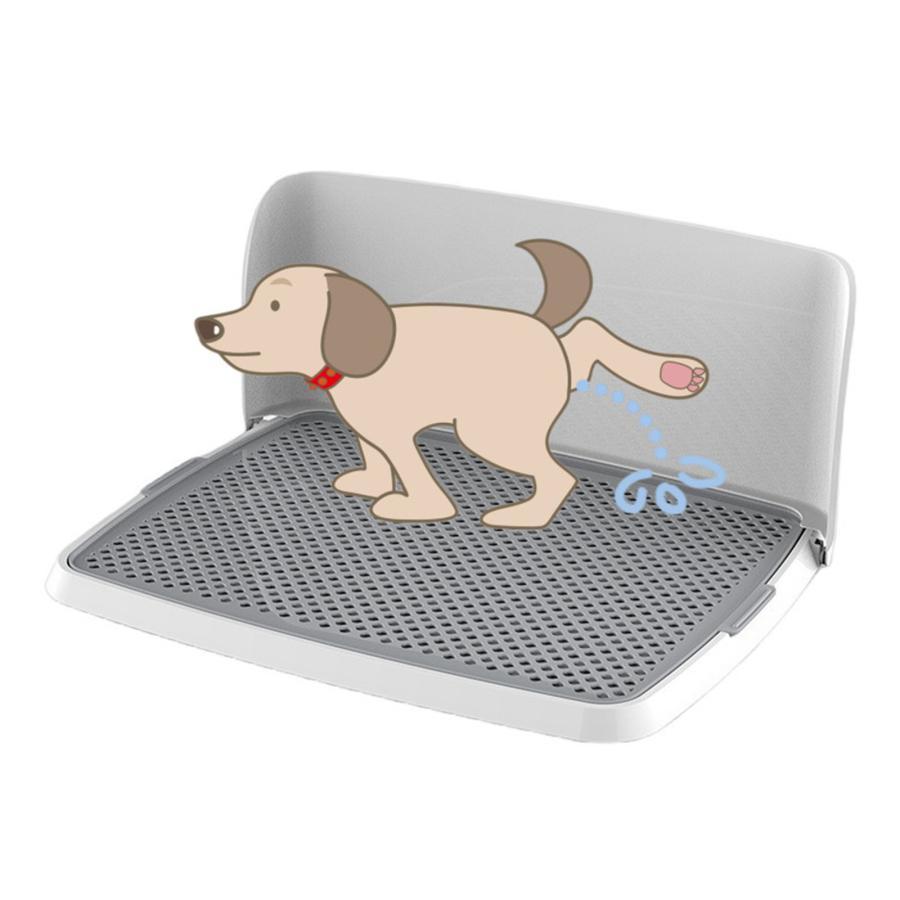 犬用トイレ 犬 オス犬用 壁付タイプ L字型のトイレ 小型犬 中型犬 メッシュ付き フチ漏れしにくい フラットタイプ トイレトレーニング M/L 送料無料 panni-fashion