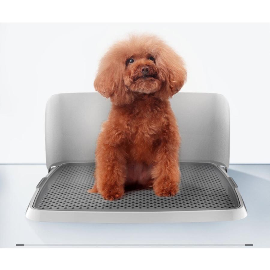 犬用トイレ 犬 オス犬用 壁付タイプ L字型のトイレ 小型犬 中型犬 メッシュ付き フチ漏れしにくい フラットタイプ トイレトレーニング M/L 送料無料 panni-fashion 02