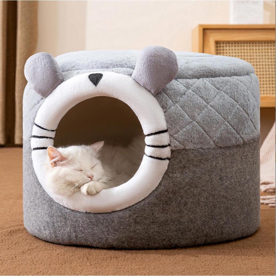 猫ベッド ペットベッド 猫 ドーム型 猫ハウス 2WAY 暖かい クッション キャットハウス 2in1 小型犬 犬猫兼用 ふわふわ 柔らかい S/M サイズ 送料無料|panni-fashion