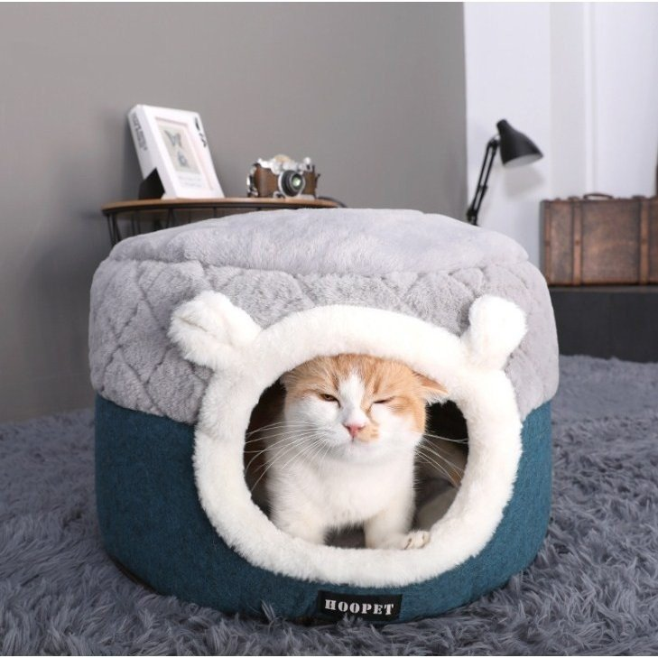猫ベッド ペットベッド 猫 ドーム型 猫ハウス 2WAY 暖かい クッション キャットハウス 2in1 小型犬 犬猫兼用 ふわふわ 柔らかい S/M サイズ 送料無料|panni-fashion|02