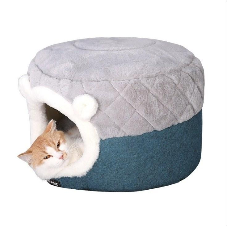 猫ベッド ペットベッド 猫 ドーム型 猫ハウス 2WAY 暖かい クッション キャットハウス 2in1 小型犬 犬猫兼用 ふわふわ 柔らかい S/M サイズ 送料無料|panni-fashion|03