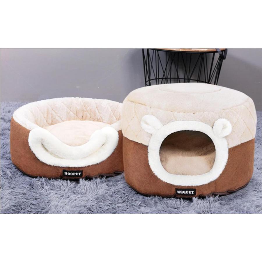 猫ベッド ペットベッド 猫 ドーム型 猫ハウス 2WAY 暖かい クッション キャットハウス 2in1 小型犬 犬猫兼用 ふわふわ 柔らかい S/M サイズ 送料無料|panni-fashion|12